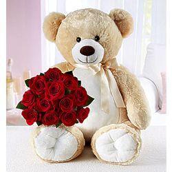 Big Teddy Bear For Romance With Red Roses Teddy Bear Wallpaper Teddy Bear Valentines Flowers