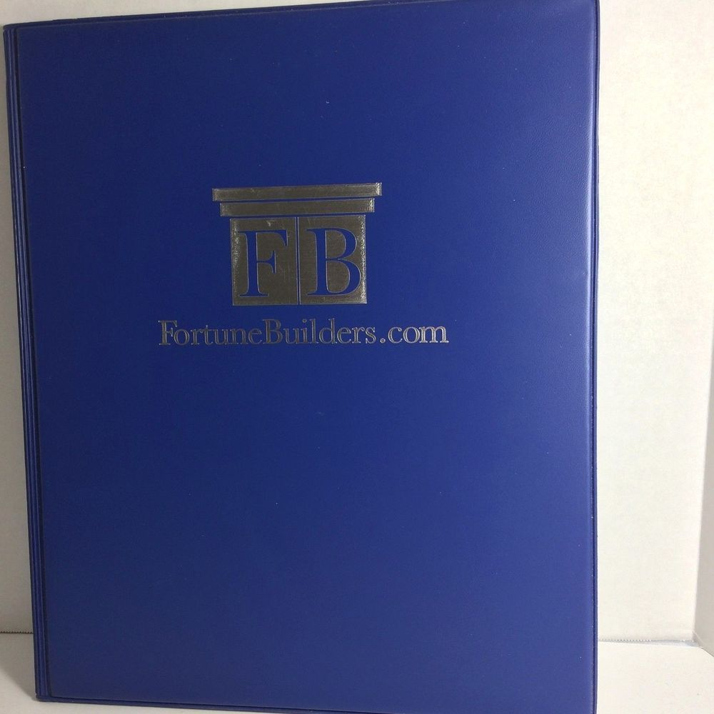 Royal Blue Vinyl Portfolio with Pad Branded Fortune Builders