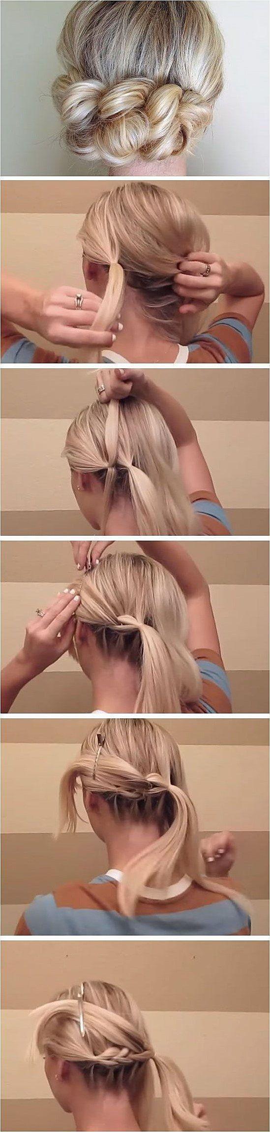 Ziehen Sie durch Zopf DIY Hochzeitsfrisuren für mittleres Haar Einfache Brautju – Abella F.