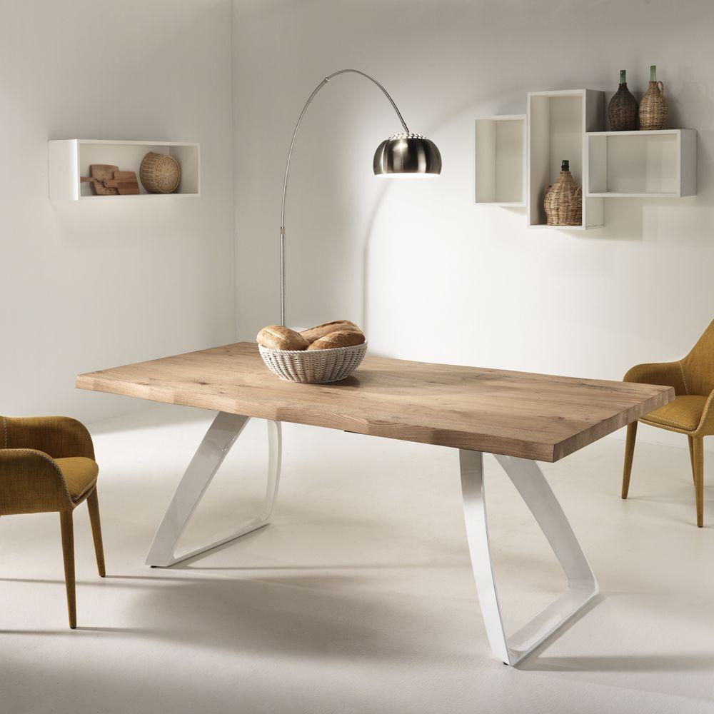 Tavolo allungabile in legno impiallacciato rovere e for Tavoli per cucina in legno