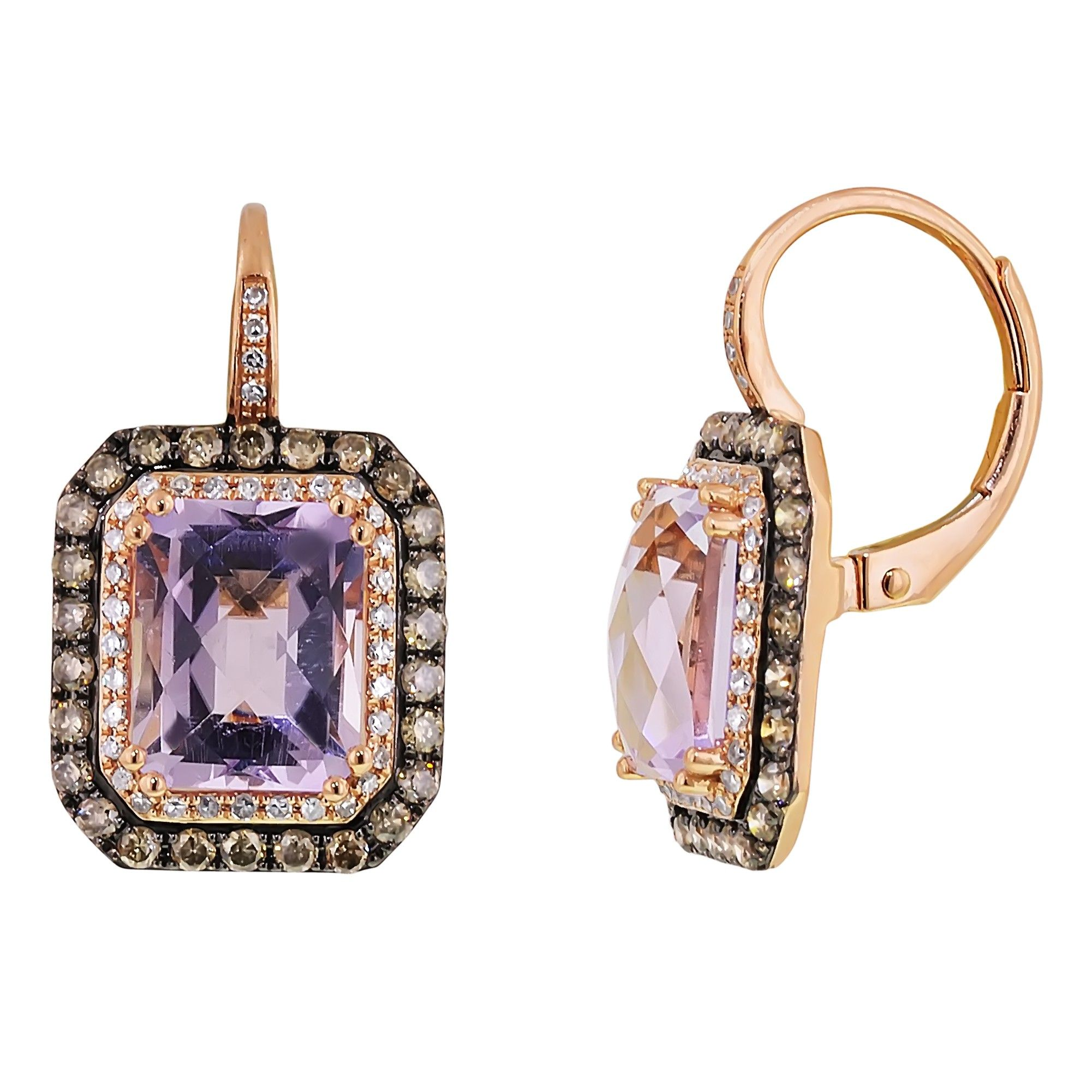 Dabakarov Cush Pink Amethyst Earrings In 14kt Rose Gold With Diamonds These Exquisite