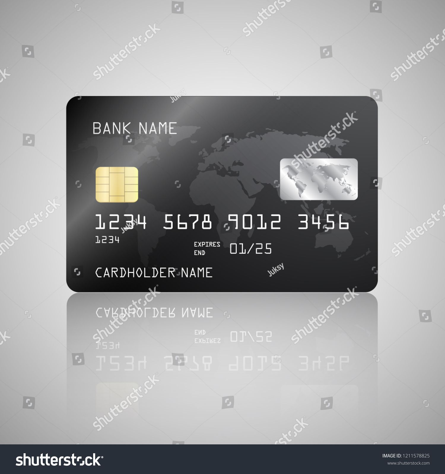 Vector Realistic Detailed Credit Card With The World Map On Black