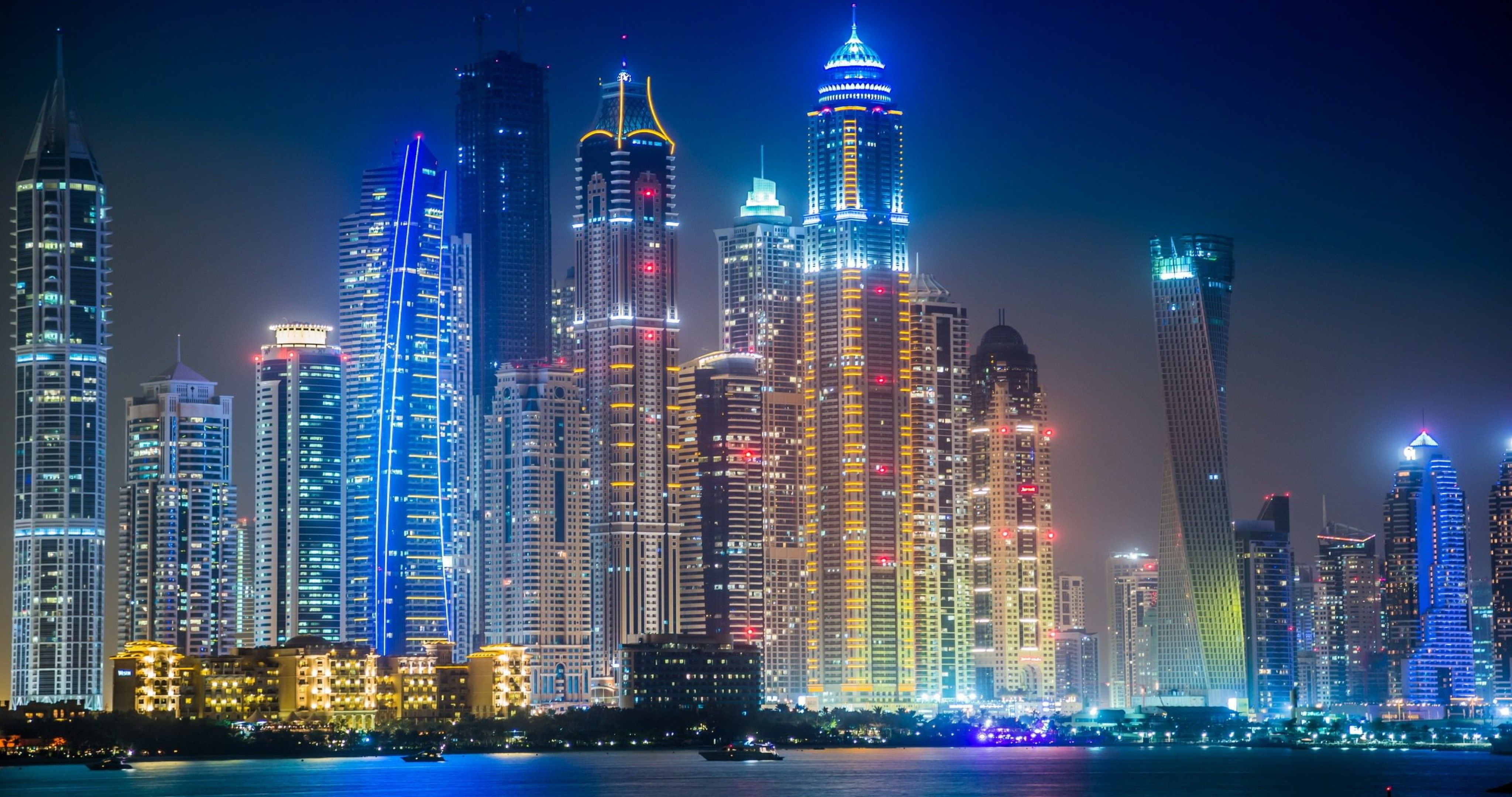 dubai in night 4k ultra hd wallpaper
