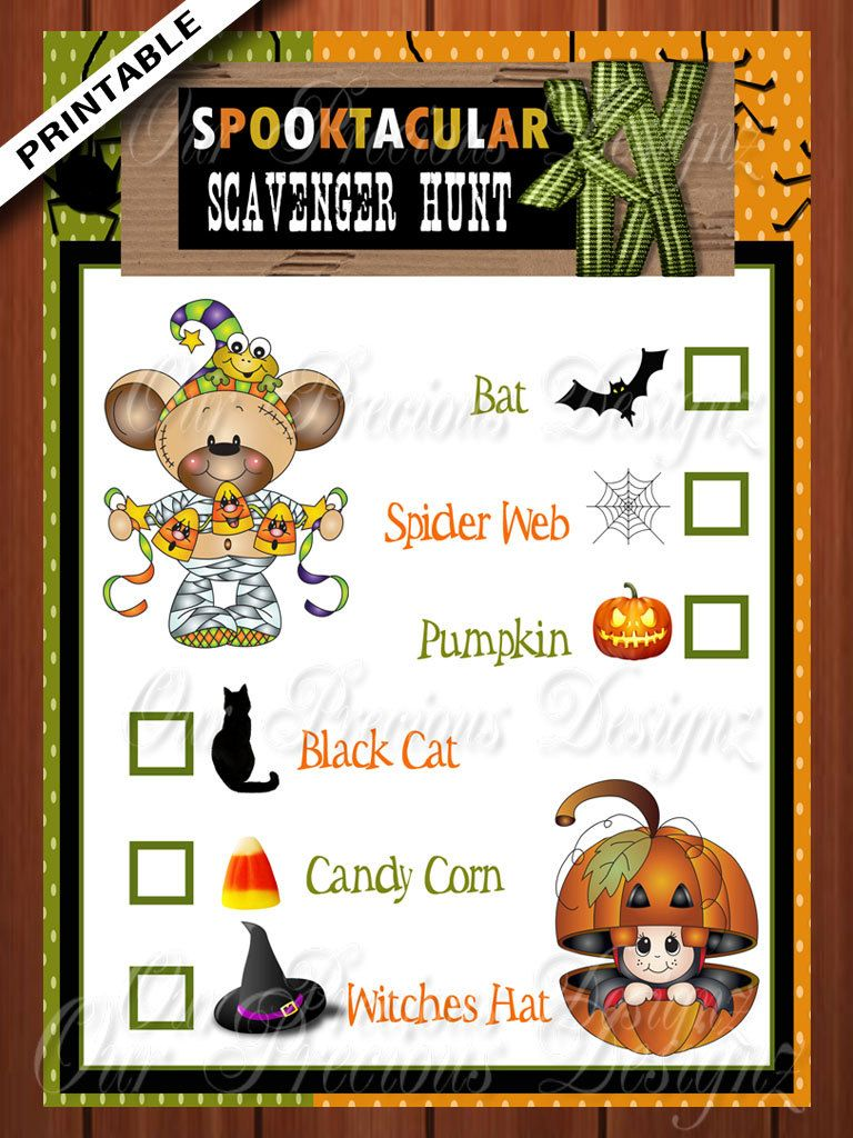 Halloween Scavenger Hunt Game Printable Instant
