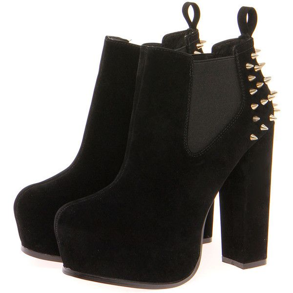 Flick Black Suedette Studded Back Chelsea Boot (180 BRL) ❤ liked on Polyvore featuring shoes, boots, ankle booties, heels, botas, zapatos, black lace up booties, lace up heel boots, lace up booties and chelsea boots