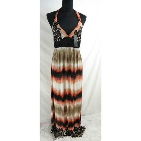 """HPANIMAL PRINT MAXI HALTER DRESS Brown animal print maxi with halter tie. 100% Poly.  Length of skirt 41"""". Elastic waist.   Silky knit feel material. One size. Typicalky size 8/10 fit best. Kimberly's Boutique Dresses Maxi"""