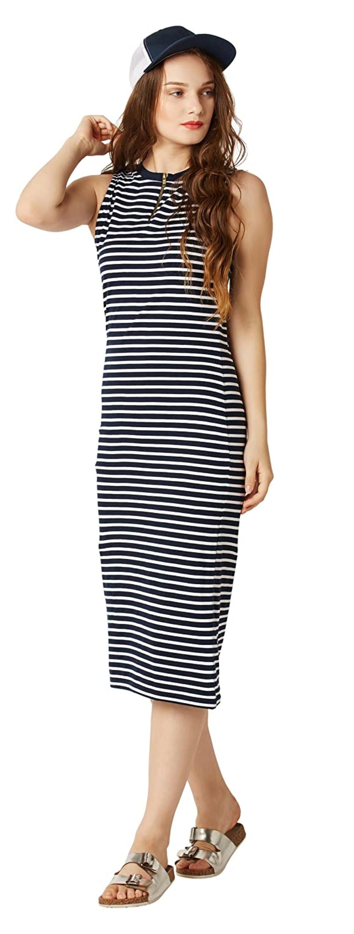 Miss Chase Women S Comfortable Cotton Striped Bodycon Midi Dress Striped Bodycon Midi Dress Bodycon Dress Dresses [ 3264 x 1237 Pixel ]