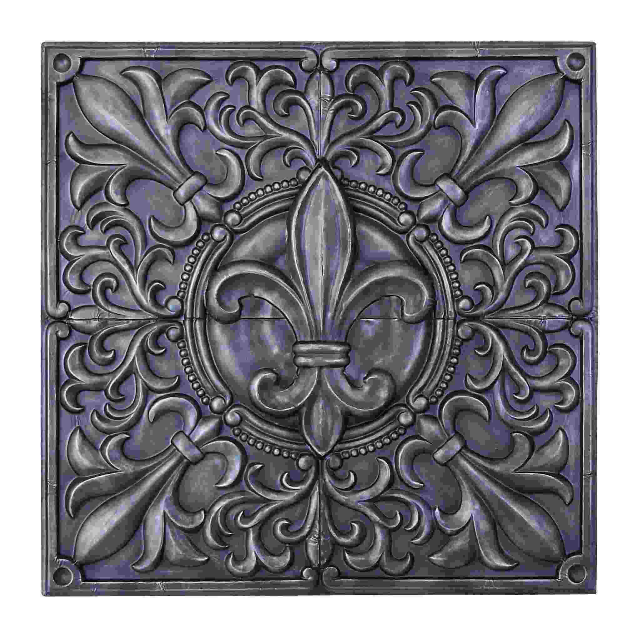 Square Metal Wall Art square metal wall art | pewter fleur de lis - square metal wall