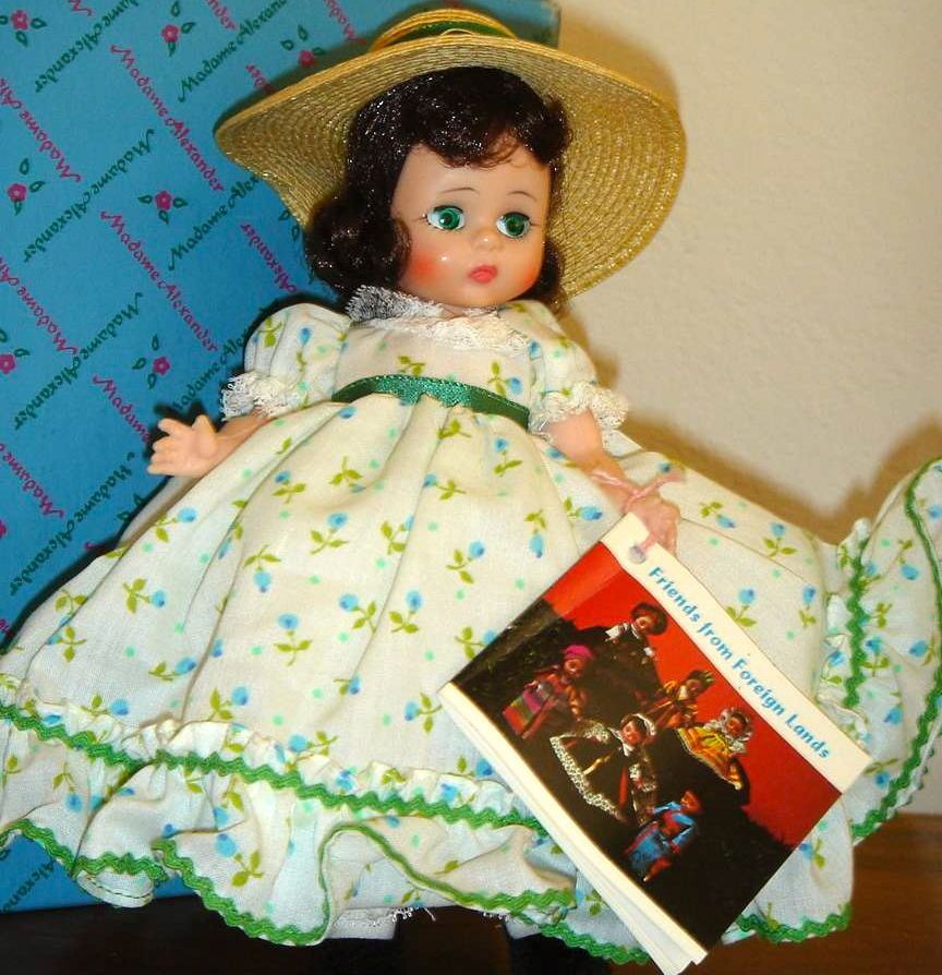 """Vintage 1968 Bent Knee """"Scarlett"""" with print dress and straw hat, Mint with tag!"""