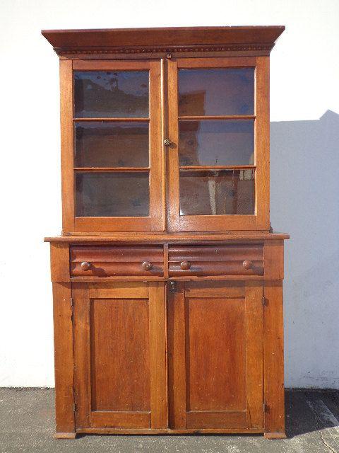 Antique 1850's Hutch Cabinet Sideboard Primitive Shaker Walnut ...