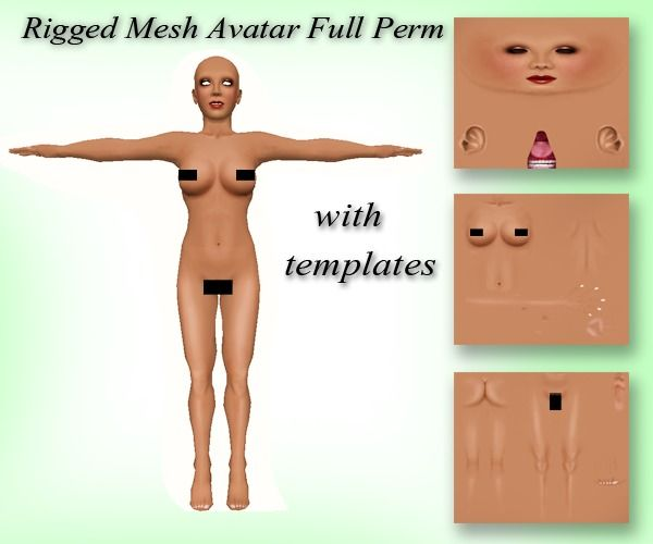 mesh rigged avatar full perm with body templates sl skin templates