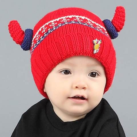 c43e1d359fb Cute cow beanie hats with horns for baby autumn winter knit hat ...