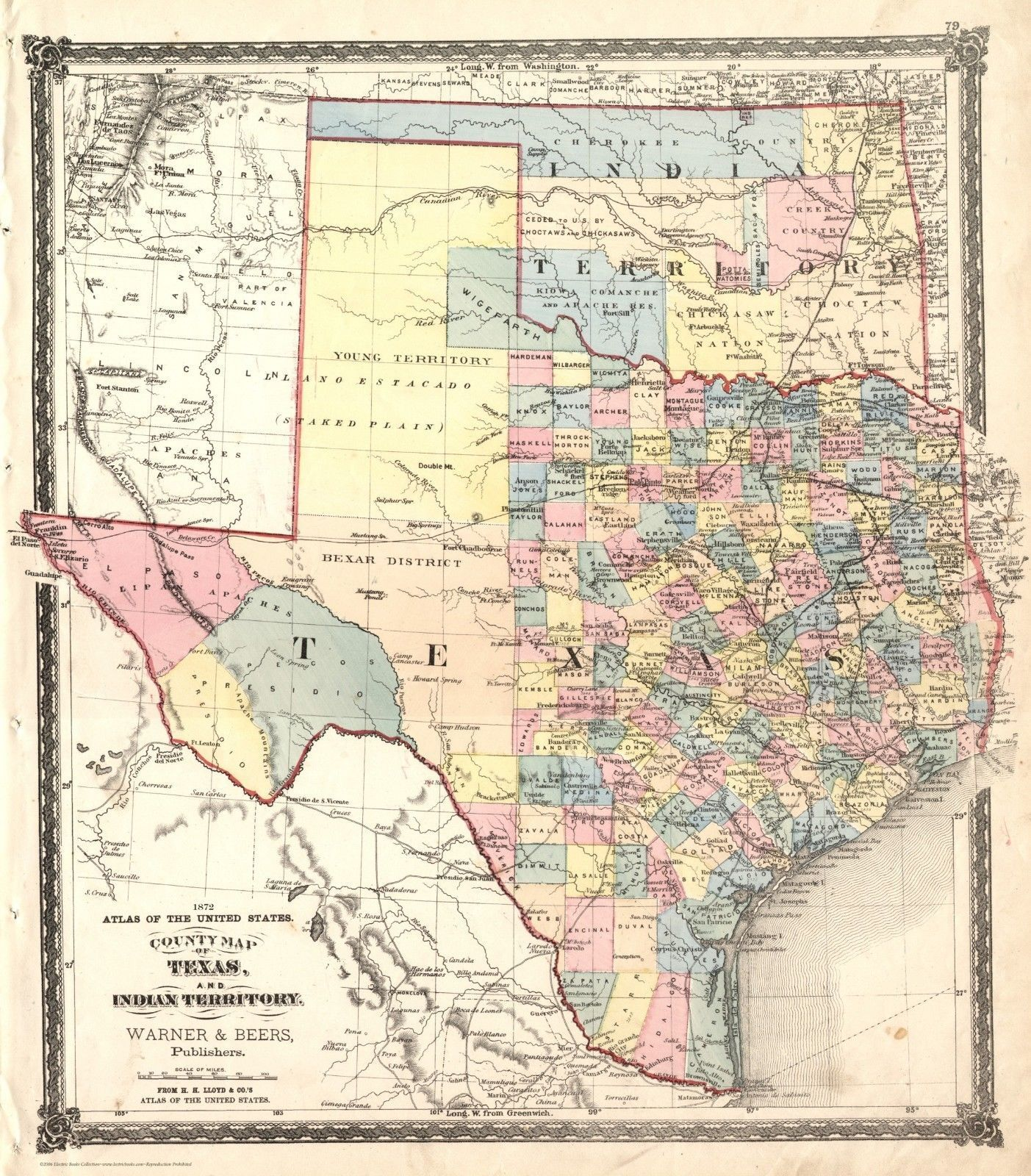 Map Of Texas By County.Details About Fabulous 1872 Texas It County Map Warner Beers Print