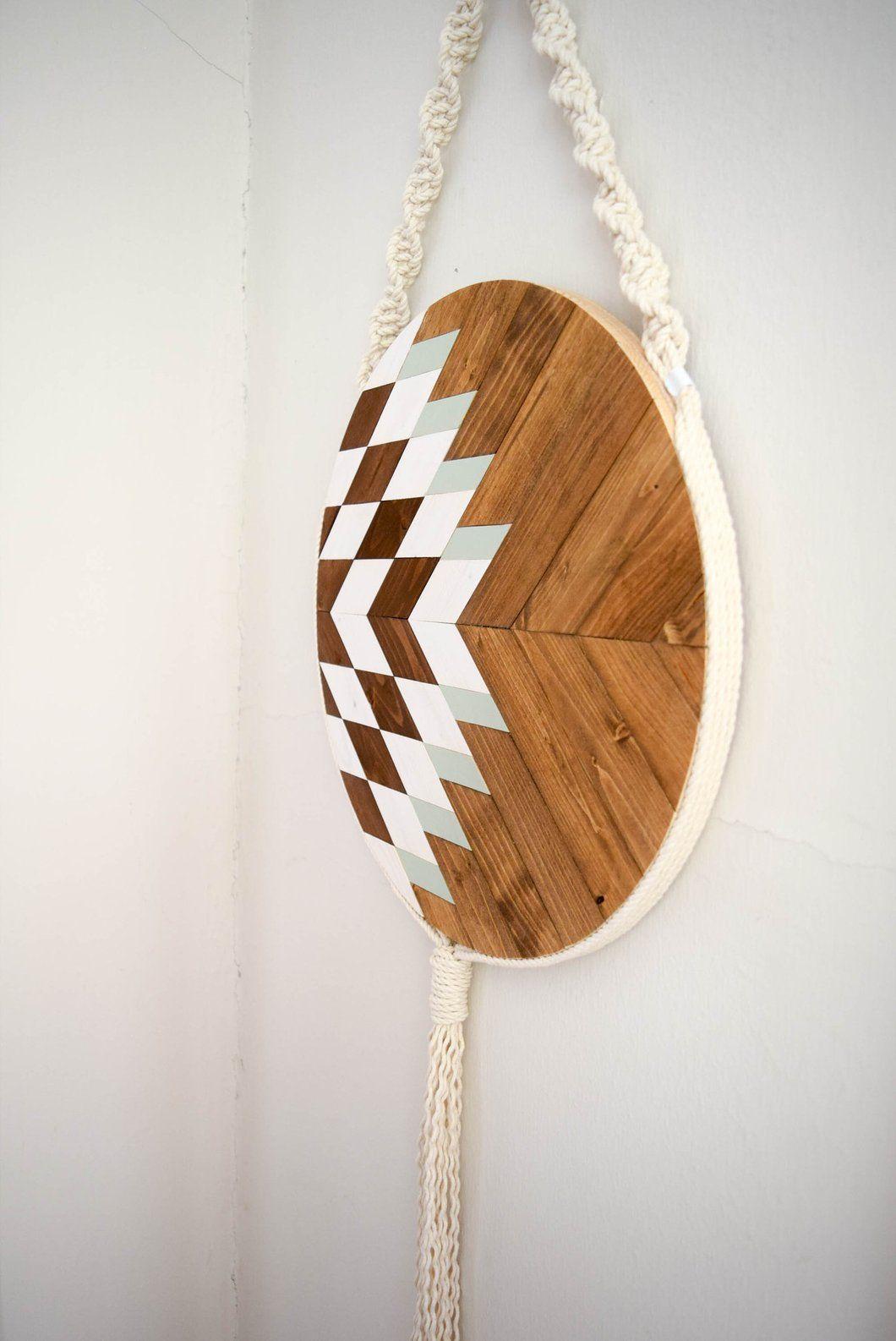 Elara round macrame wood wall art hanging woodburning