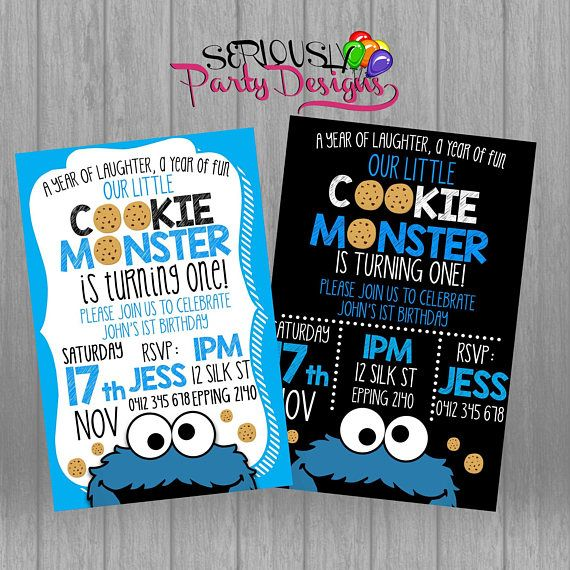 Cookie Monster Birthday Invite Cookie Monster Invitation Cookie