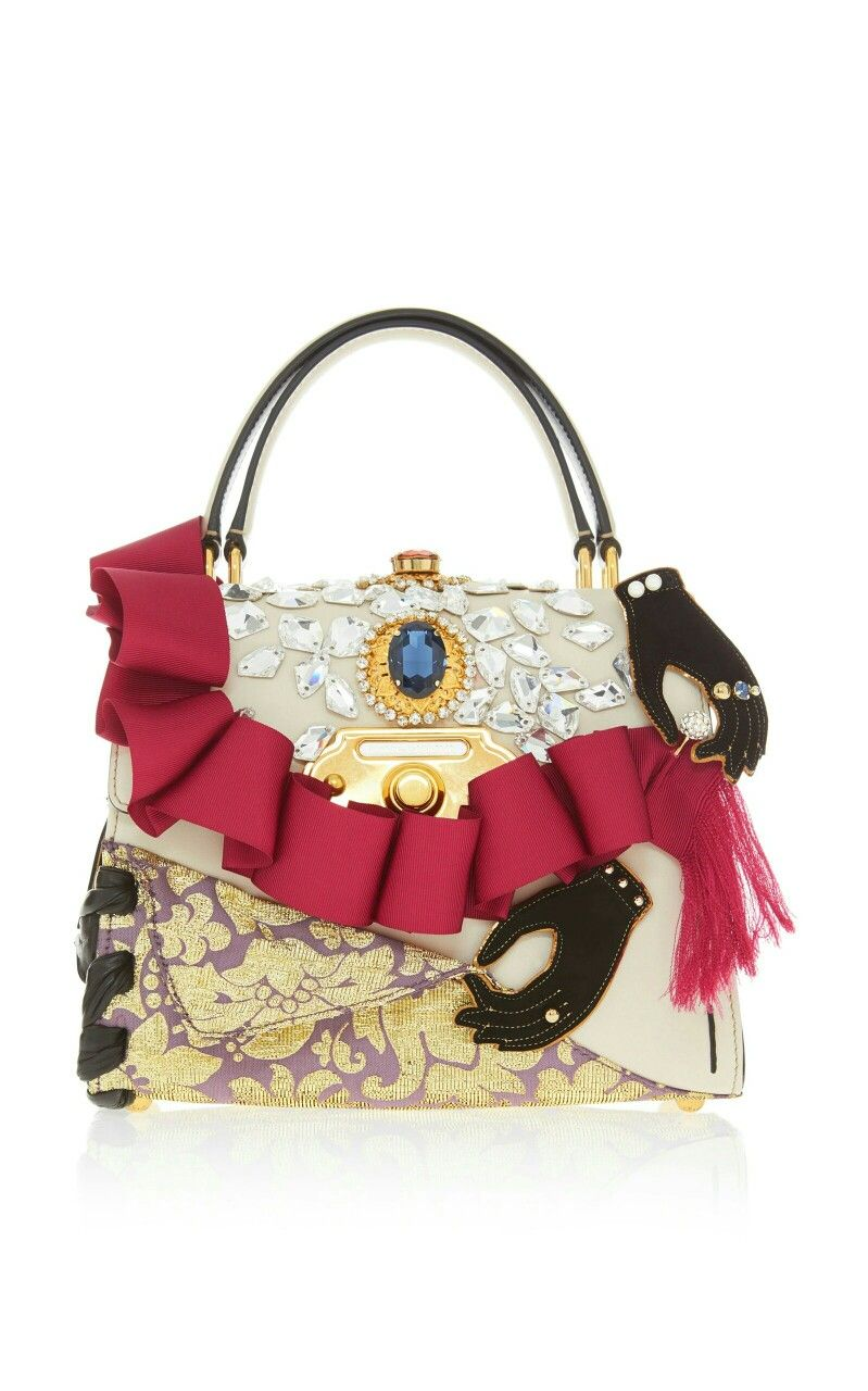 Dolce   Gabbana .Ruffle Embellished Top Handle Leather Bag ... a33ba98713