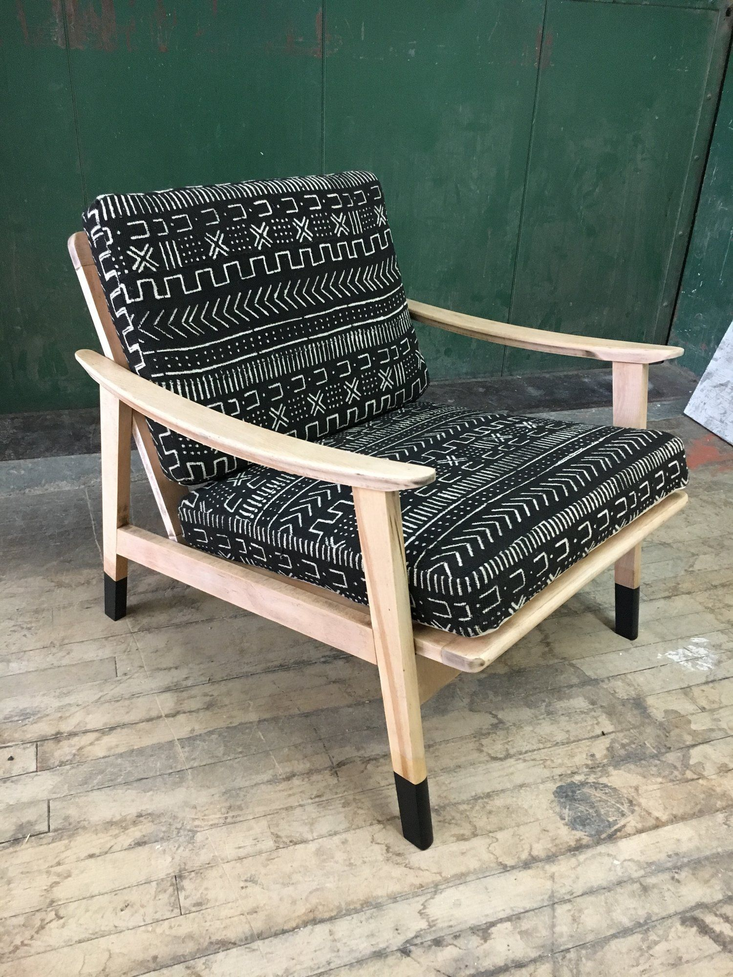 Mid Century Modern Yugoslavia Chair With Authentic Mud Cloth