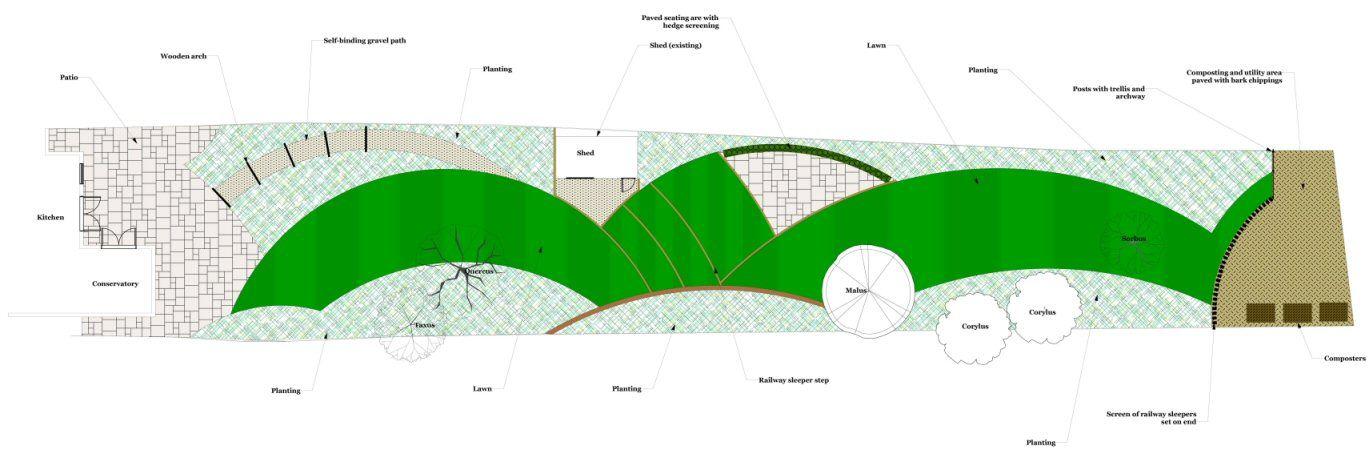 Garden Design Plan For A Long Narrow Garden In Woking Surrey Designed By Linsey Evans Garden Design Garden Design Plans Small Garden Design Garden Design