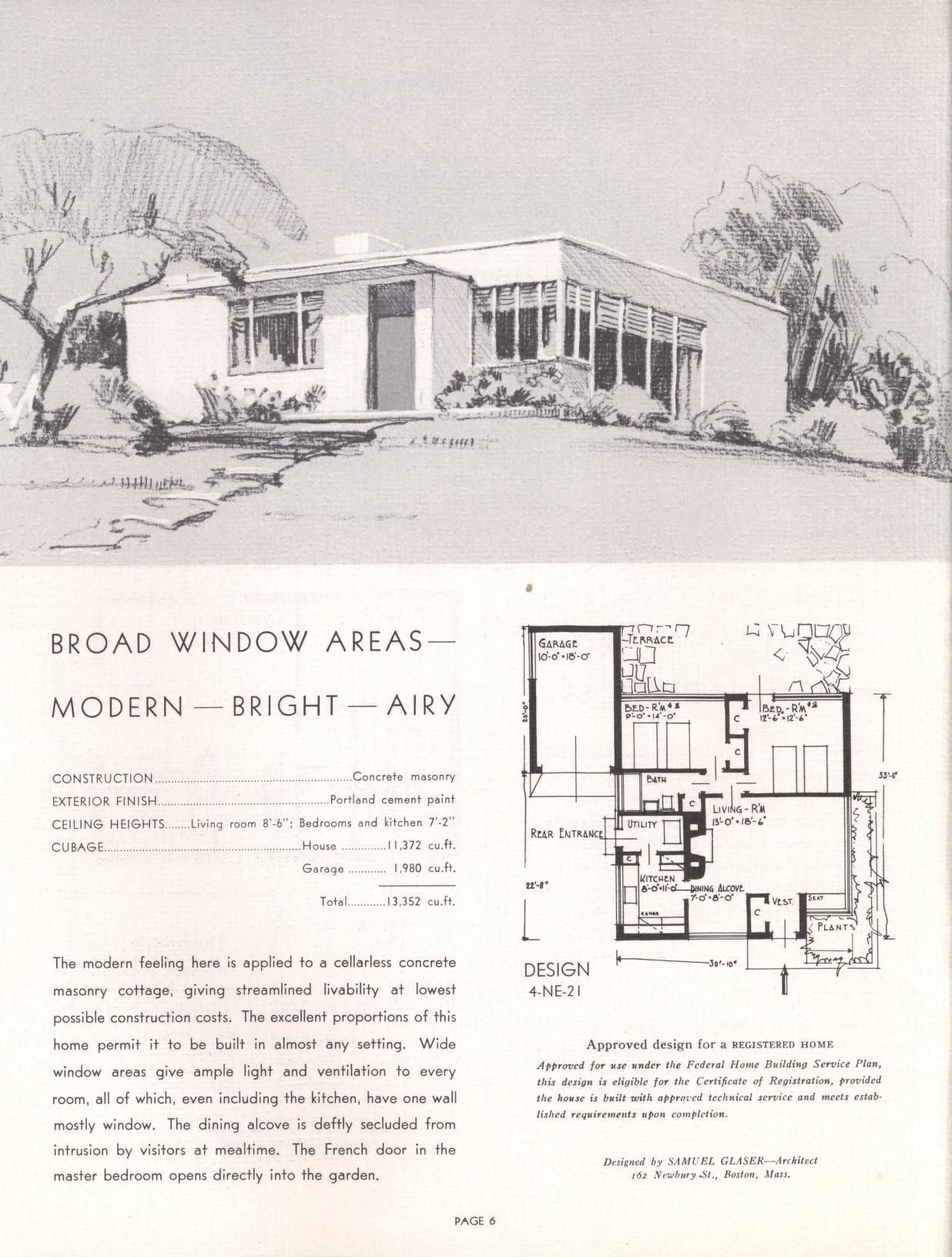 28 Concrete Homes Vintage House Plans Mid Century Modern House Plans House Plans