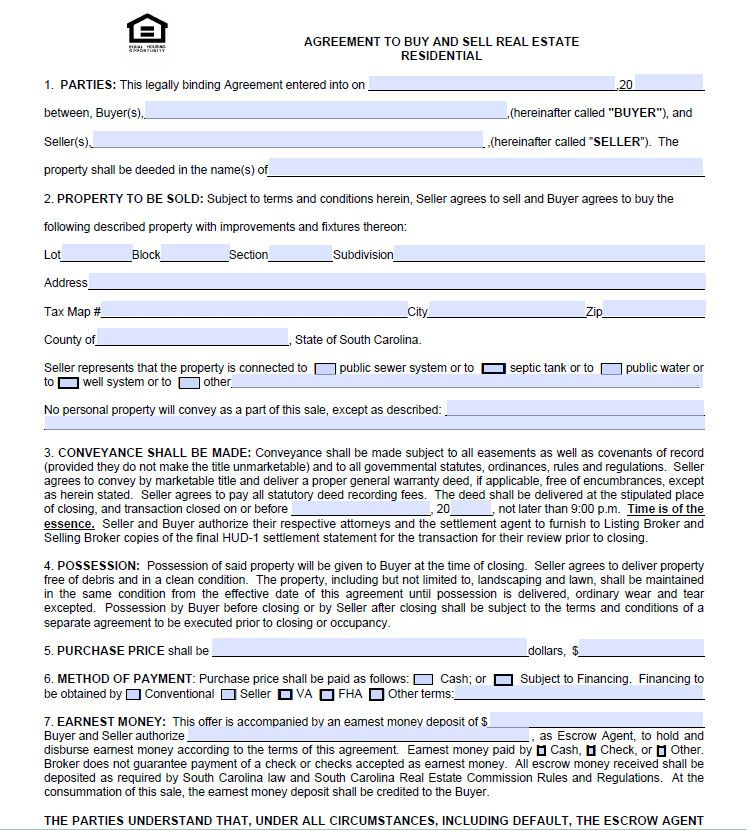 Charleston Real Estate – Agreement to Purchase Real Estate Form Free