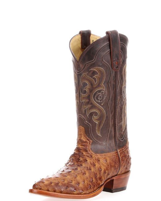 Men S Chocolate Vintage Full Quill Ostrich Boot Tony Lama