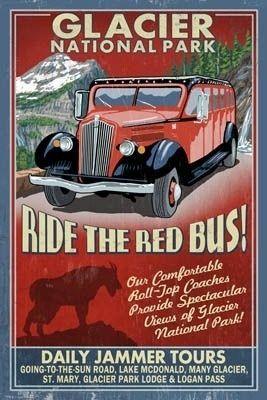 Glacier National Park - Red Jammer Vintage Sign - Lantern Press Poster