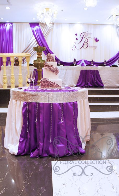 Purple Backdrop For Cake Table Cake Table Decorated With White
