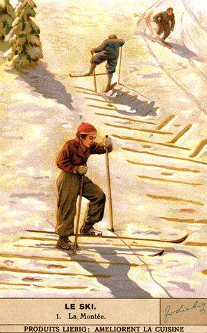 Affiche vintage de ski - La Montee....réépinglé par Maurie Daboux ❥•*`*•❥