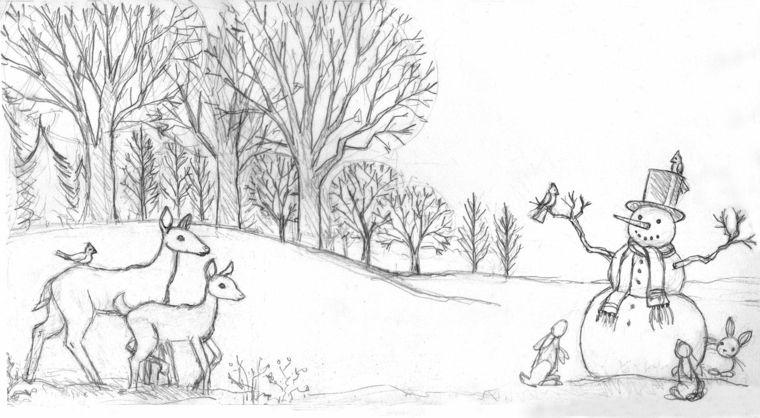 Paesaggi da disegnare a matita facili portalebambini for Disegno paesaggio invernale