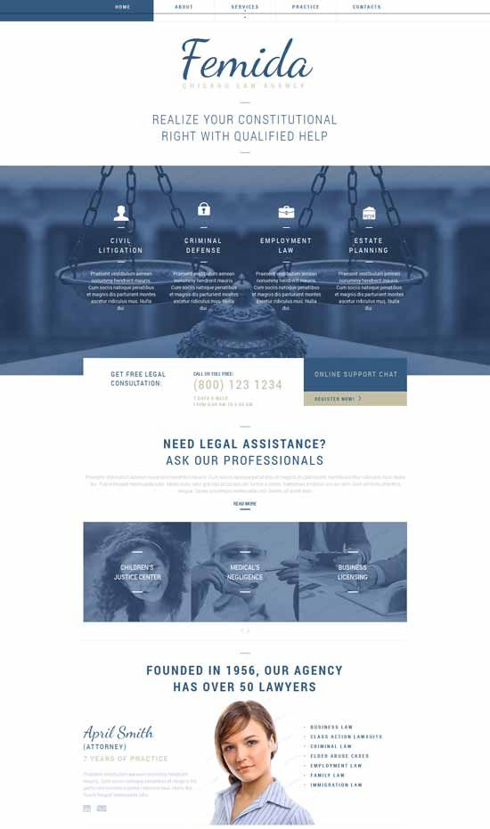 Femida Law Firm Responsive Website Template