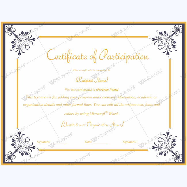 Printable Certificate Of Participation Certificate