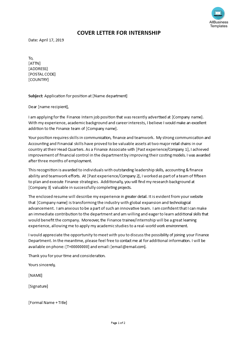 How To Write A Cover Letter For An Internship In Finance Check Out This Sample Cover Letter Fo Writing A Cover Letter Cover Letter Cover Letter For Internship