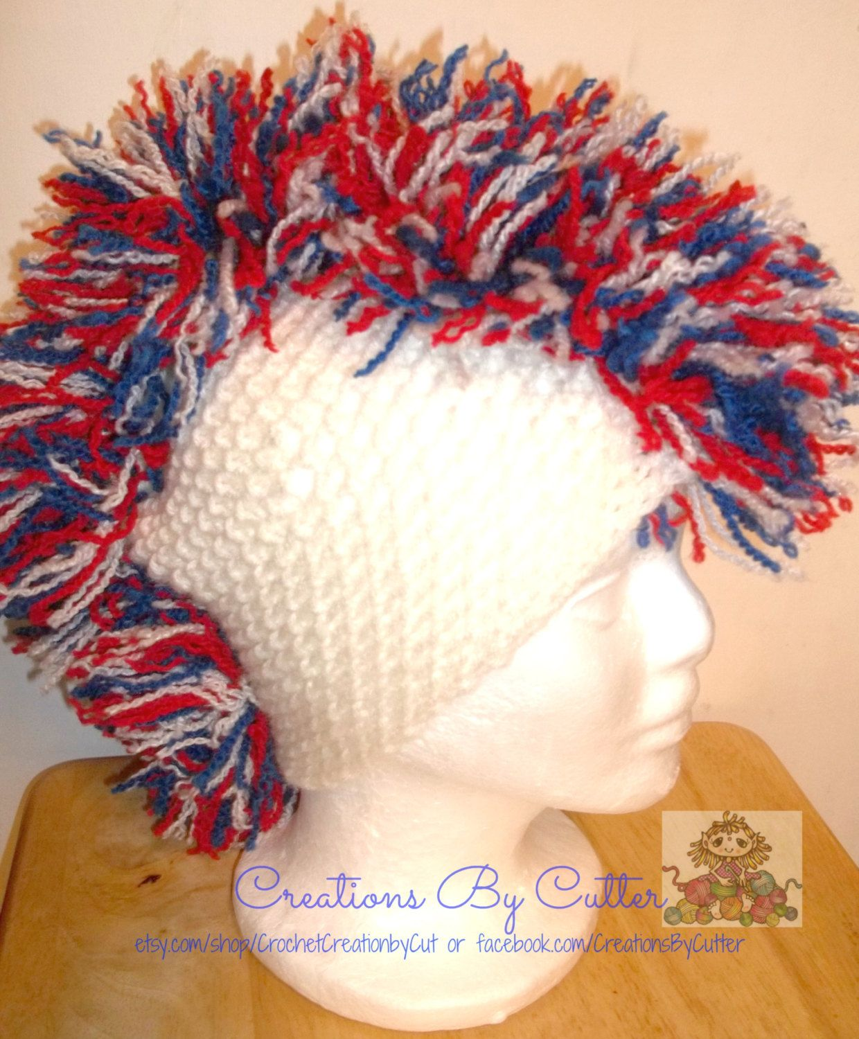 Mohawk Frayed \'Hair\' Beanie Hat, Red, White and Blue Photo Prop ...