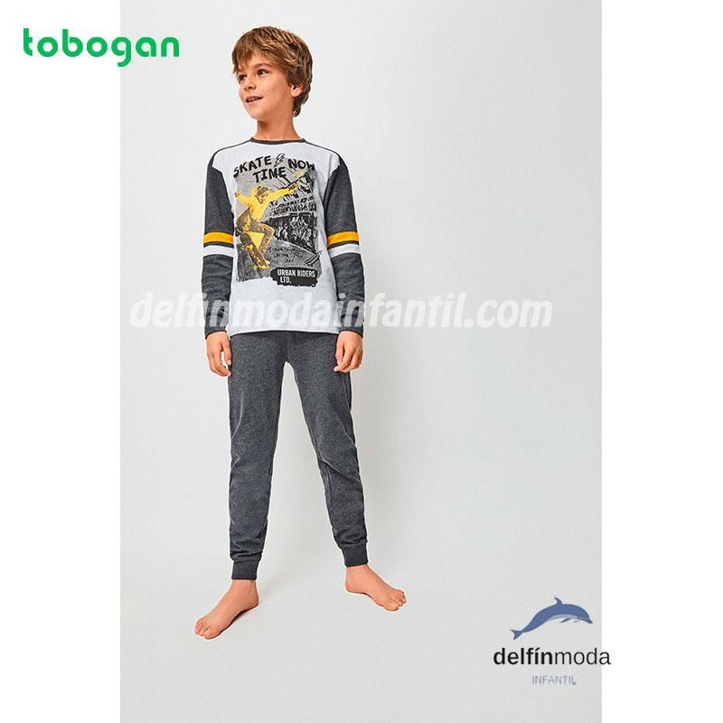 Pijama Largo Algodon Interlock Para Nino Tobogan Skate Pijama Ninas Modelos Moda Infantil