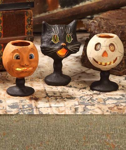 Goblin Goblets - Paper Mache Pumpkin Sassy Cat and Skull - Bethany