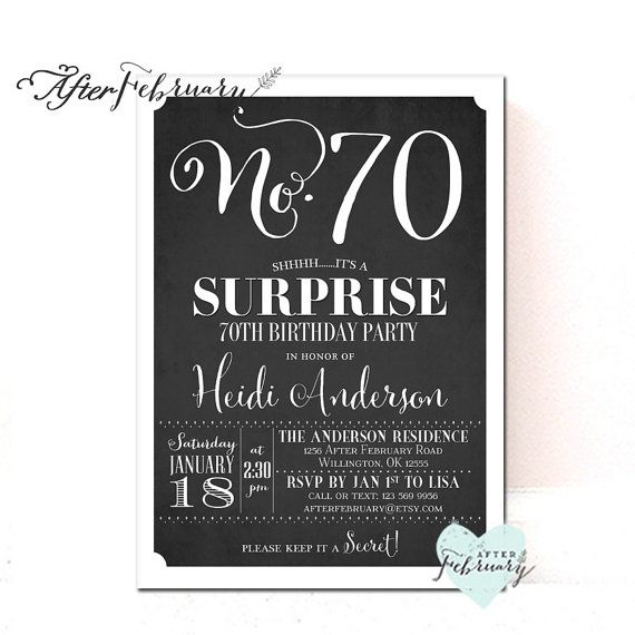 ANY AGES: Surprise 70th Birthday Invitation Women Men ...