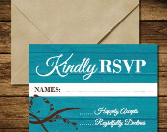Rustic Teal RSVP Card with Wood background - Wedding RSVP - Edit Listing - Etsy