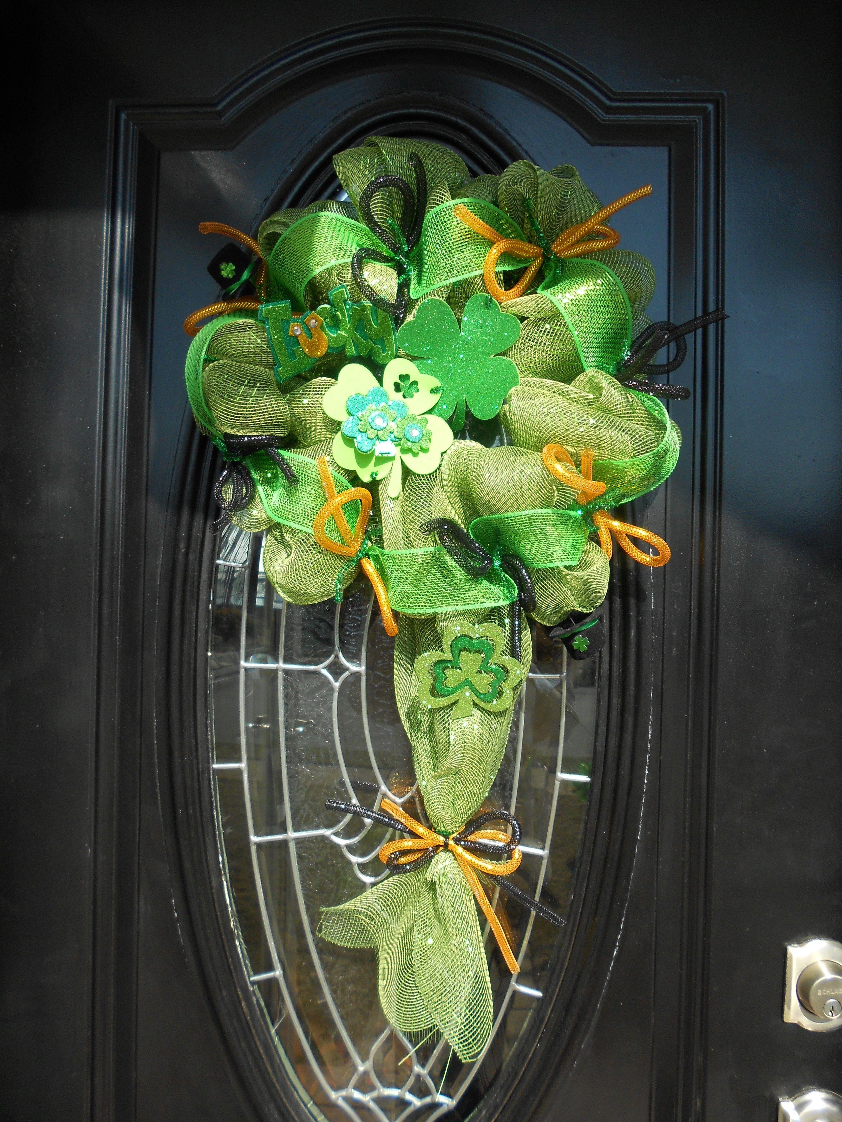 st patrick 39 s day deco mesh wreath roezee 39 s wreaths pinterest wreaths deco mesh wreaths. Black Bedroom Furniture Sets. Home Design Ideas