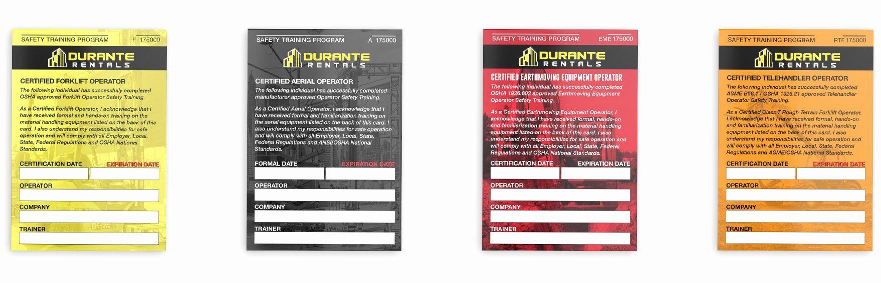 Equipment Operator Certification Card Template Elegant Construction Equipment Training Card Template Card Templates Printable Templates