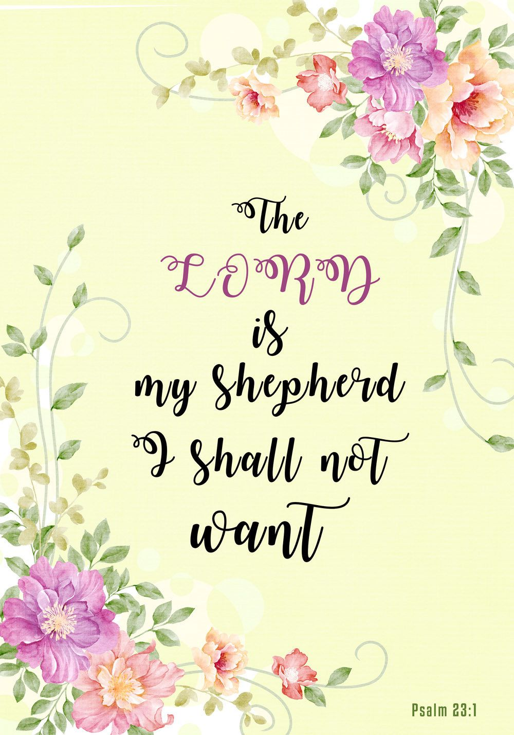 Christian Wall Poster - Psalm 23 1, The Lord is my shepherd ...