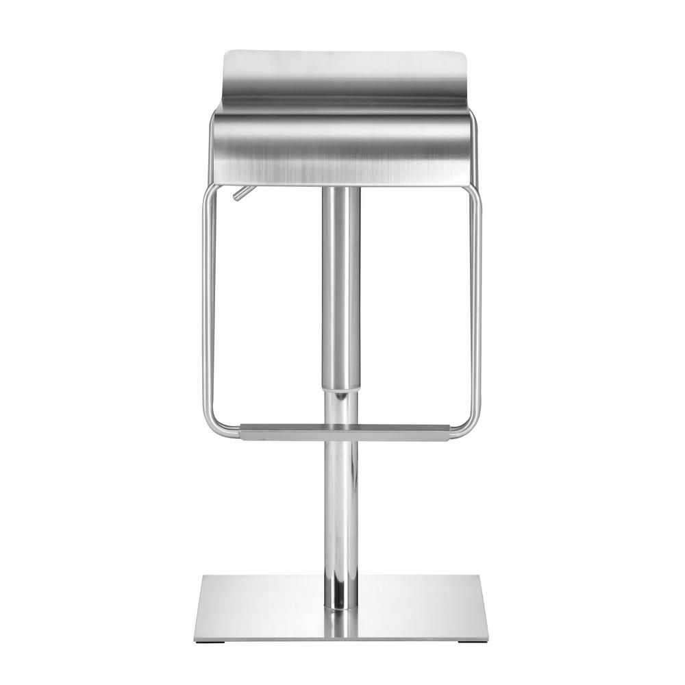 Dazzer adjustable height brushed stainless steel bar stool