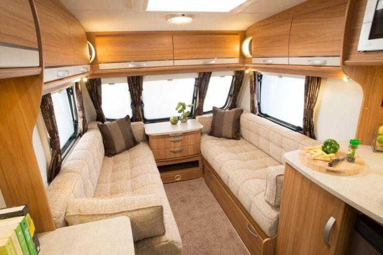 Caravane Interieur Canape Blanc Idee Amenagement Meuble En Bois