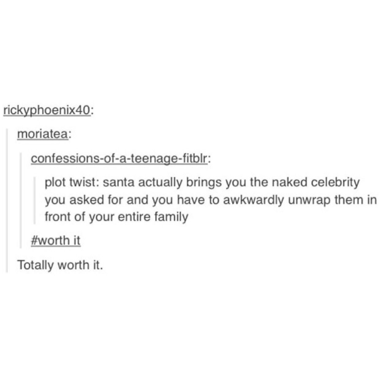 Tumblr, text post, funny, lol, lmao. It would totally be Misha Collins