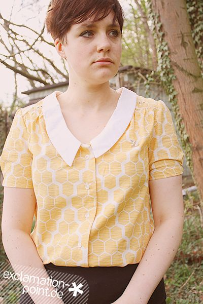 """Bee-themed Mimi Blouse from Love at first stitch / Tilly and the Buttons 