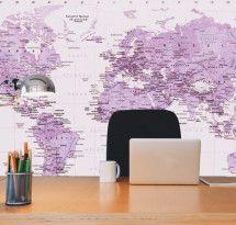 Adesivo de Parede – Mapa-múndi Educativo Lilás