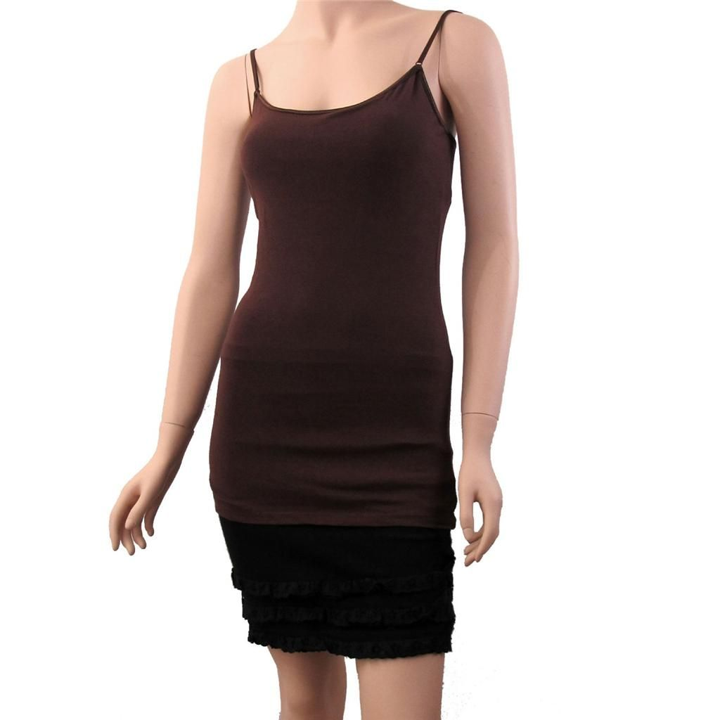 Women S Dark Brown Camisole Tank Top Tunic Shirt With