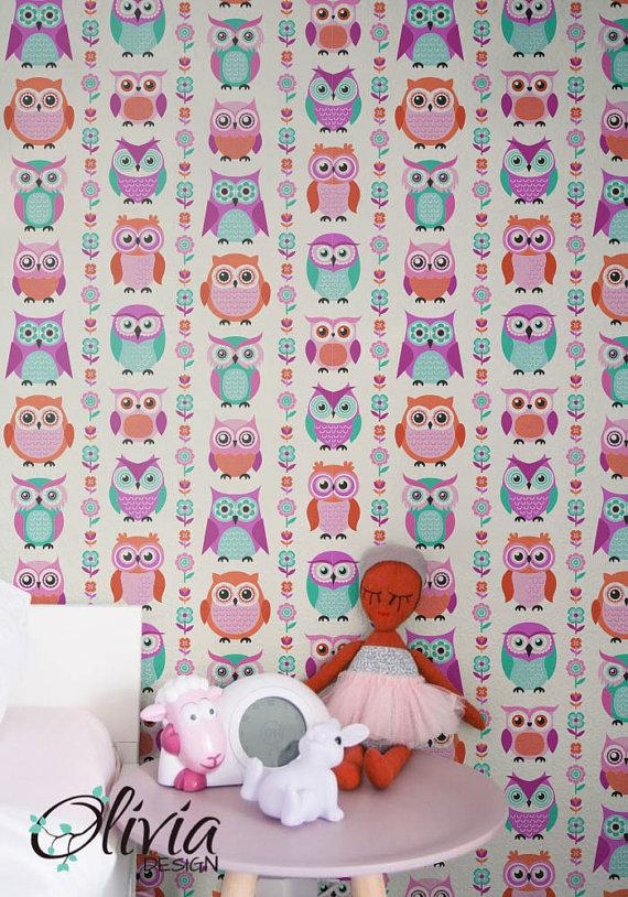 Hot pink Owl Self adhesive kids room wallpaper PINK PEEL
