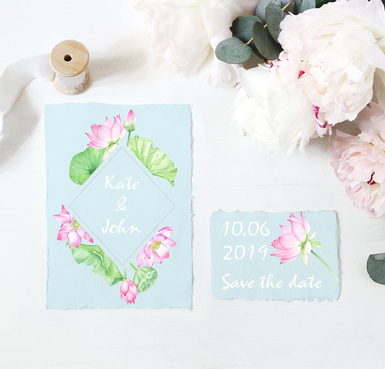 Watercolor Floral Frame Lotus Frame Wedding Clipart Watercolor