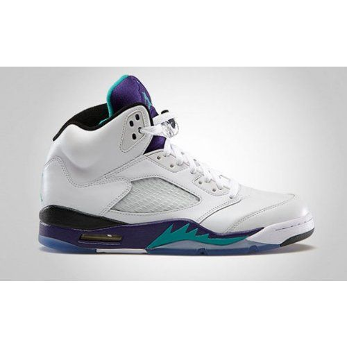 OKS03001627 Size 12 United States Jordan Women / Men 2017 Air Jordan 5 Retro Gs White/New Emerald Grape Ice Blue Shoes USA / US Size 8 5
