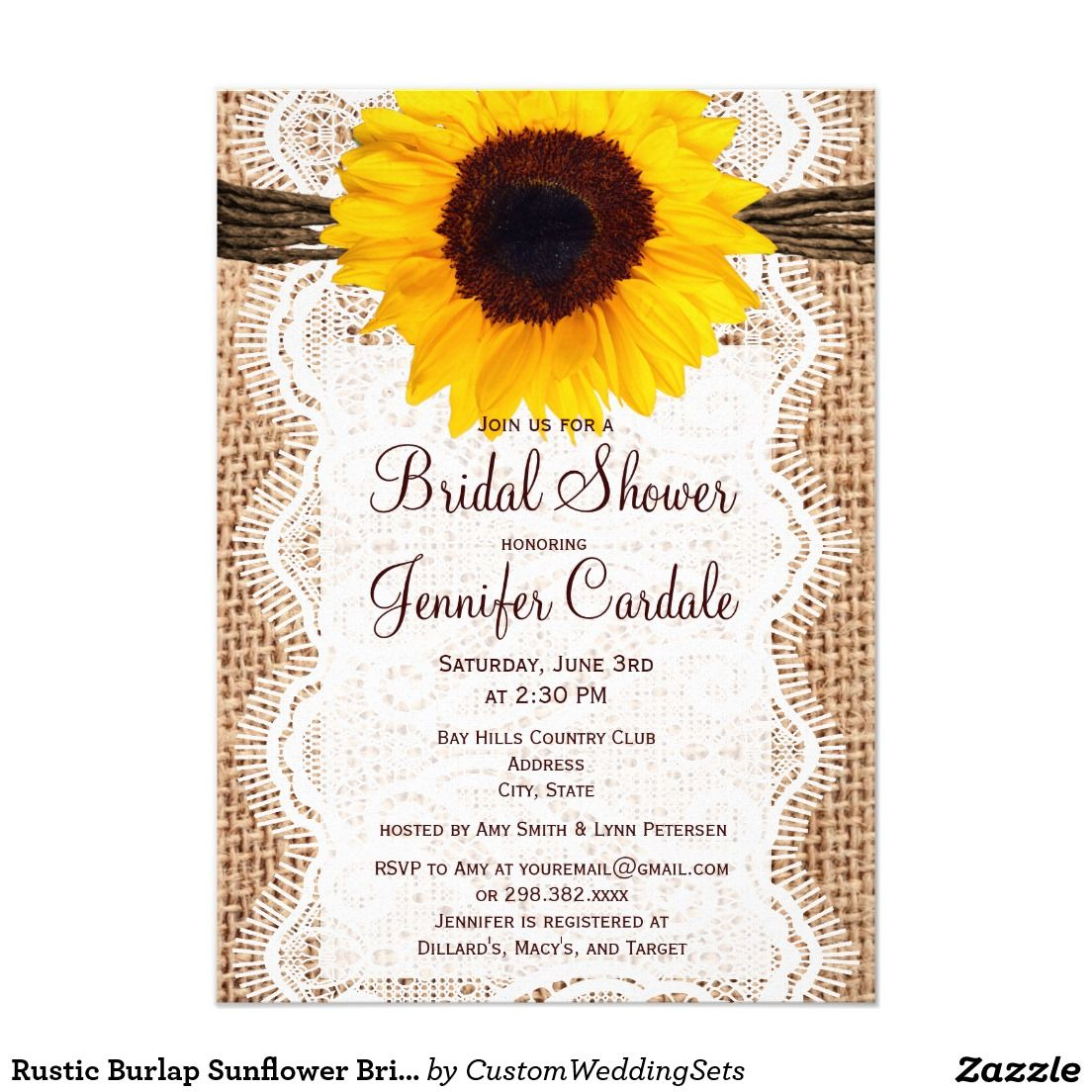 Rustic Burlap Sunflower Bridal Shower Invitations | Bridal Shower ...